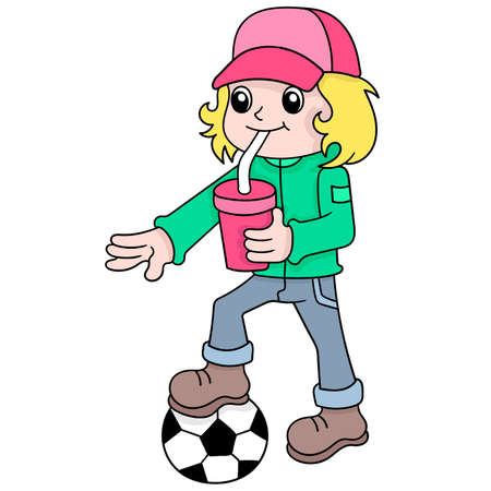 a cool blonde haired boy drinking ice while playing ball, vector illustration art. doodle icon image kawaii.