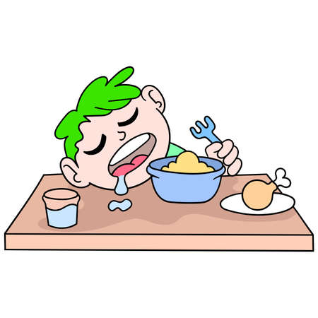 a boy sleeping on the dining table when breaking his fast, vector illustration art. doodle icon image kawaii.