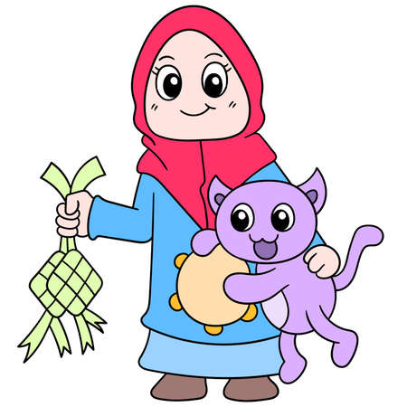 a beautiful girl wearing a Muslim hijab with her pet cat celebrating Eid, vector illustration art. doodle icon image kawaii.