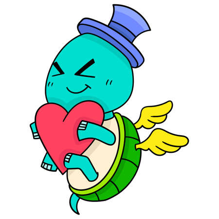 animal winged turtle holding a heart is happily falling in love, vector illustration art. doodle icon image kawaii.