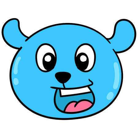 The bear head is blue in color with a happy smile on its face, vector illustration carton emoticon. doodle icon drawing