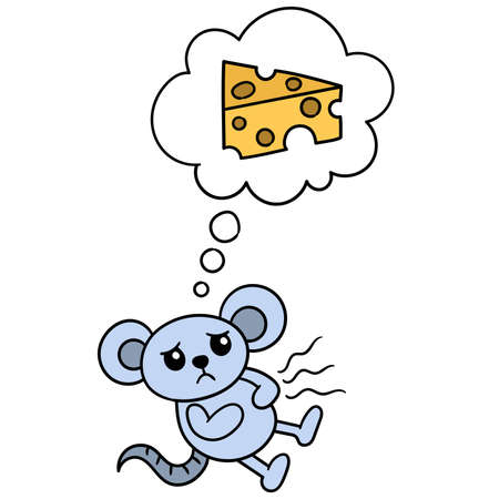 the mouse is saddened by hunger and imagines a piece of delicious cheese, vector illustration art. doodle icon image kawaii.