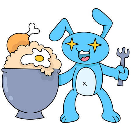 rabbits are surprised to be happy to get fried egg fried rice, vector illustration art. doodle icon image kawaii.