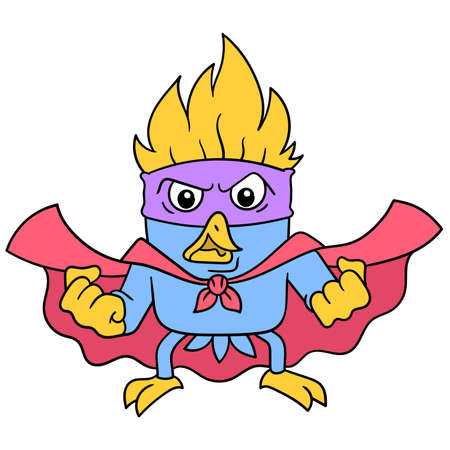 Angry faced superhero bird collects strength, vector illustration art. doodle icon image kawaii.