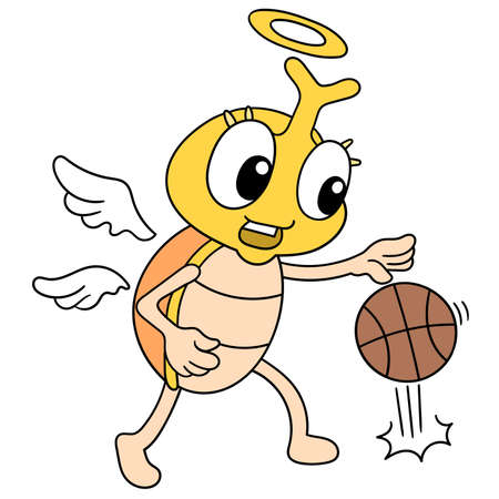 a cockroach insect with a happy face playing basketball, vector illustration art. doodle icon image kawaii. 向量圖像