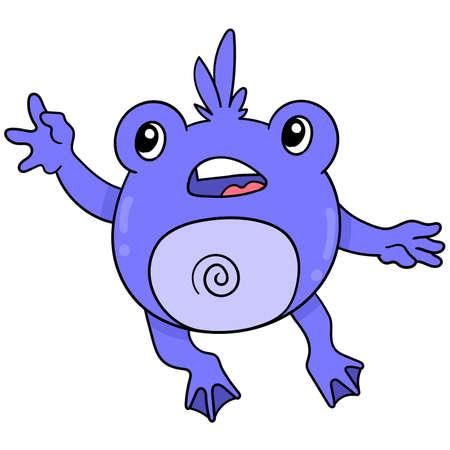 a cute purple frog monster dancing, vector illustration art. doodle icon image kawaii.