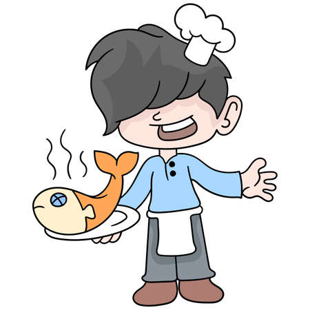 Boy learns to be a chef to cook delicious fish dishes, vector illustration art. doodle icon image kawaii.