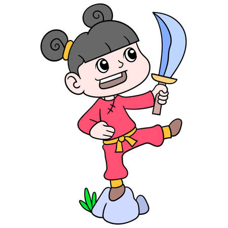 Chinese girls are in action carrying a sword to learn martial arts, vector illustration art. doodle icon image kawaii. 向量圖像