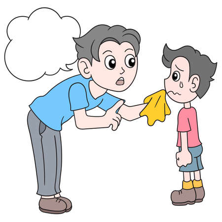 father is comforting his son who is sad, vector illustration art. doodle icon image kawaii.