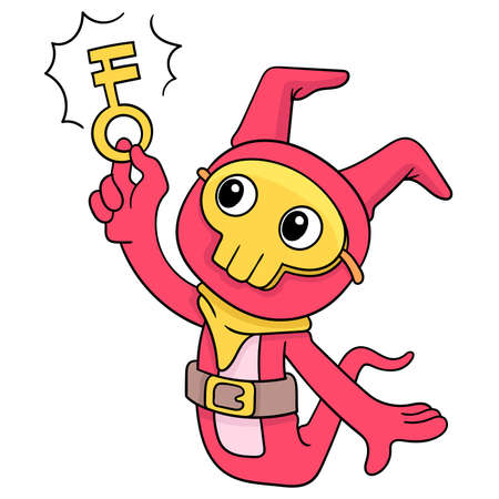 cute creatures get the magic key to the treasure opening, vector illustration art. doodle icon image kawaii.