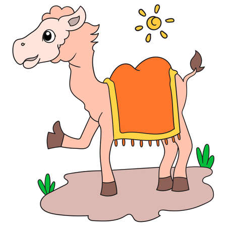 camel animal in hot daytime alone, vector illustration art. doodle icon image kawaii.