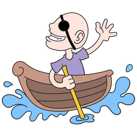 a bald man becomes a pirate alone in a small boat, vector illustration art. doodle icon image kawaii.