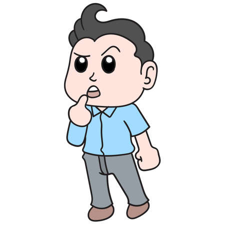 Handsome boy stands with a face of thought and confusion, vector illustration art. doodle icon image. 向量圖像