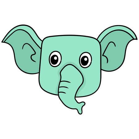 elephant head long proboscis faced smiling happily, vector illustration carton emoticon. doodle icon drawing 向量圖像