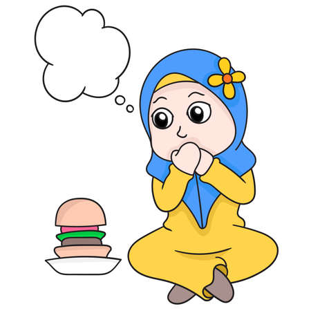 bubble chat beautiful Muslim hijab girl fasting withstand the temptation of food, vector illustration art. doodle icon image. 向量圖像