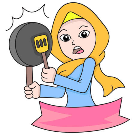 banner of a beautiful Islamic hijab woman carrying a frying pan and spatula for cooking, vector illustration art. doodle icon image.