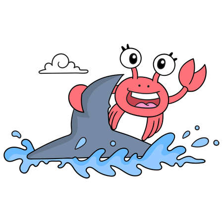 crabs are on vacation on the beach playing happy surfing, vector illustration art. doodle icon image kawaii. 向量圖像