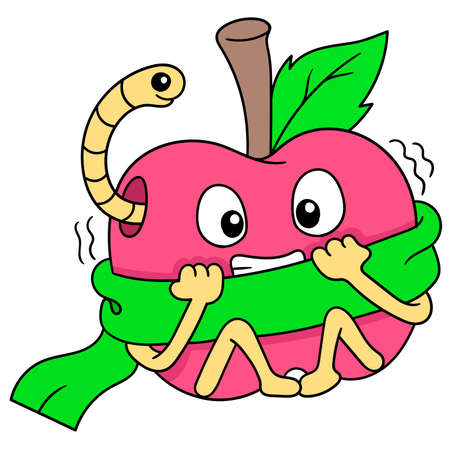 apples are scared because they are contaminated by caterpillars, vector illustration art. doodle icon image kawaii.