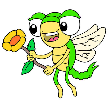 flying dragonflies carry flying sunflowers for dates, vector illustration art. doodle icon image kawaii.