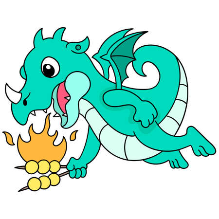 the blue dragon flew into the sky carrying food and burning it, vector illustration art. doodle icon image kawaii. 向量圖像