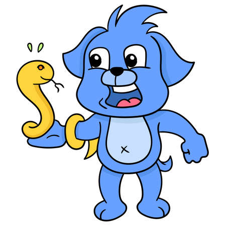 the blue dog was having a frightened face. His hand was wrapped in a poisonous snake, vector illustration art. doodle icon image kawaii.