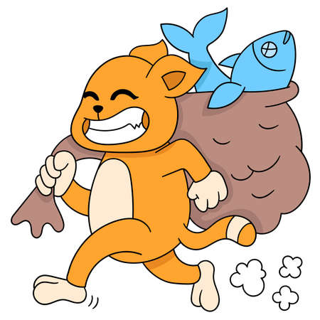 greedy cat carrying a sack of salted fish, vector illustration art. doodle icon image kawaii.