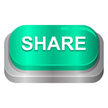 share button 3d design. vector illustration user interface. web button push 向量圖像