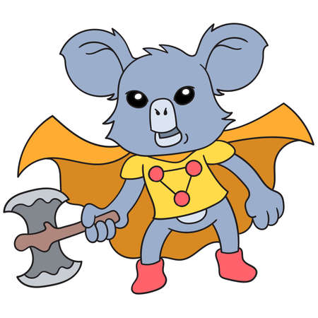 the koala animal is in the role of a superhero carrying a big ax weapon, vector illustration art. doodle icon image kawaii. 向量圖像