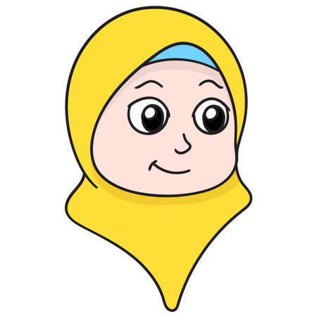 the head of a beautiful girl wearing a friendly Muslim hijab, vector illustration carton emoticon. doodle icon drawing 向量圖像