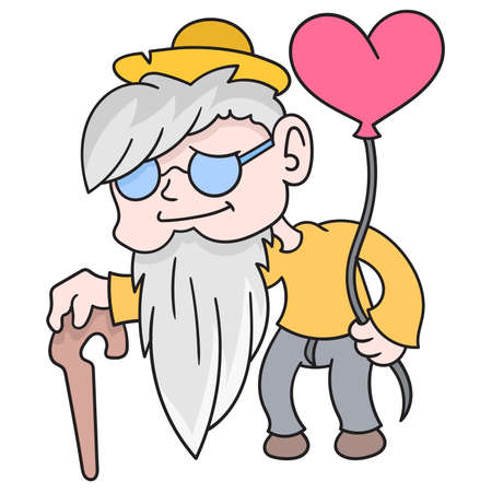 old grandpa is walking towards a date carrying a love balloon, vector illustration art. doodle icon image kawaii.