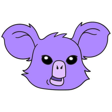 purple koala animal head with cute face, vector illustration carton emoticon. doodle icon drawing