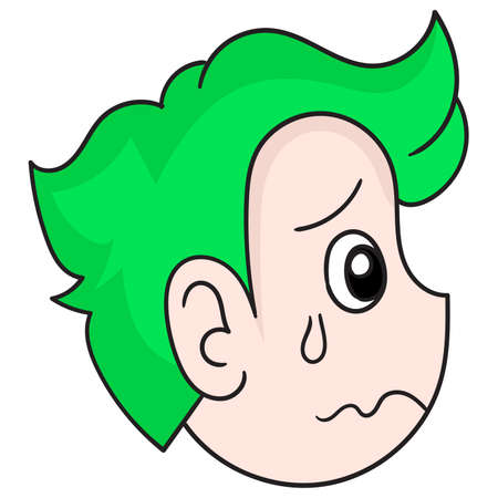 the head of the green haired boy with the face of sadness and fear, vector illustration carton emoticon. doodle icon drawing