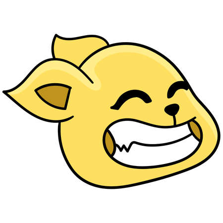 the cat head is laughing happily in yellow, vector illustration carton emoticon. doodle icon drawing