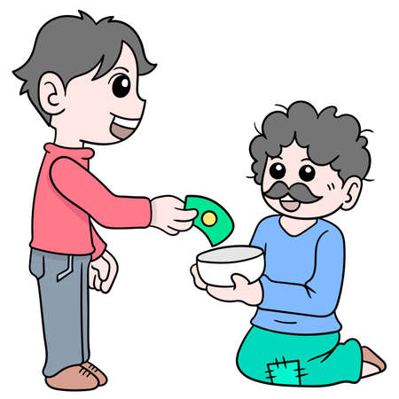 a kind and handsome young man giving alms of money to beggars, vector illustration art. doodle icon image kawaii.