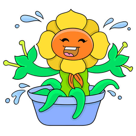 sunflowers are bathing in the tub to freshen up the summer, vector illustration art. doodle icon image kawaii.