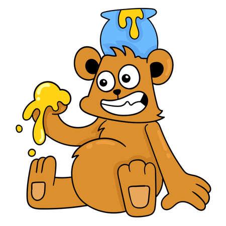 bear playing sweet honey, vector illustration art. doodle icon image kawaii.
