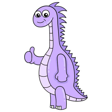 cute purple long neck dinosaur, vector illustration art. doodle icon image kawaii.