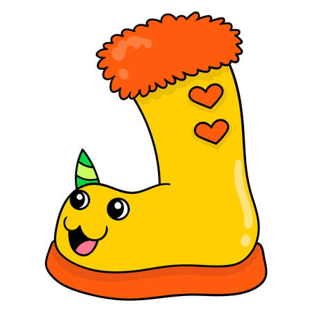 cute and plush snow boots, vector illustration art. doodle icon image kawaii.