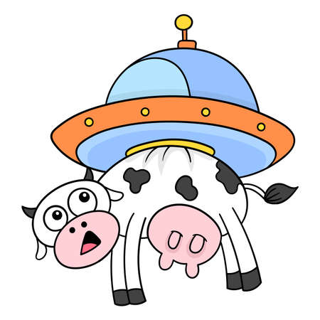 Cow flying into space carried by alien ufo, vector illustration art. doodle icon image kawaii.
