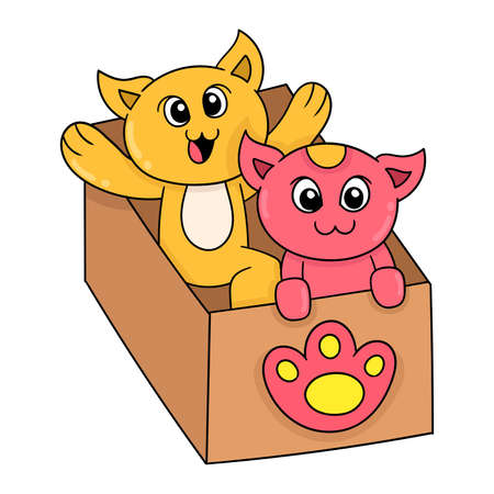 kittens are playing in cardboard boxes happily, vector illustration art. doodle icon image kawaii. Stock Illustratie