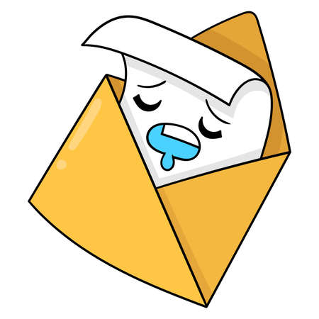 Email pending delivery because sleeping, vector illustration art. doodle icon image kawaii.