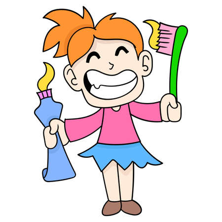 kid girl cleaning herself with brush and toothpaste, vector illustration art. doodle icon image kawaii.