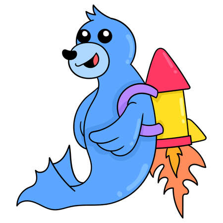 cute seals fly into space on rockets, vector illustration art. doodle icon image kawaii.