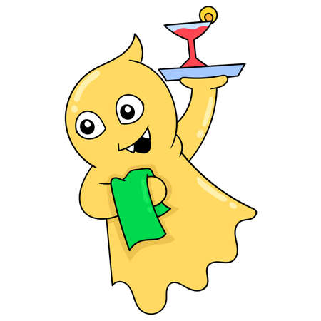 flying blanket ghost carrying wine serving as a waiter, vector illustration art. doodle icon image kawaii. Stock Illustratie