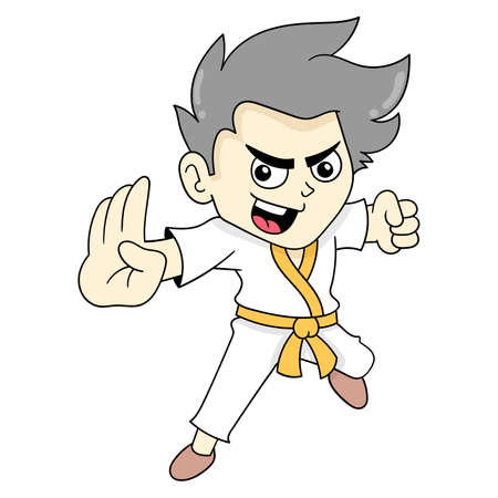 boy martial artist is practicing, vector illustration art. doodle icon image kawaii. Stock Illustratie