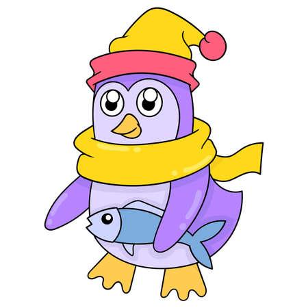 penguin in winter wearing scarf and hat bringing fish for hibernation, vector illustration art. doodle icon image kawaii. Stock Illustratie