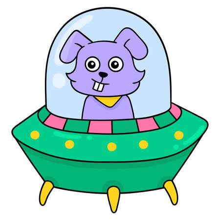 alien bunny is flying on a spaceship, vector illustration art. doodle icon image kawaii. Stock Illustratie