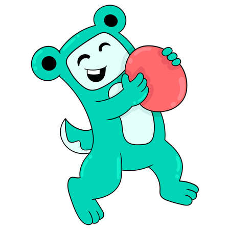 bear with happy heart laughing carrying red balloon, vector illustration art. doodle icon image kawaii.