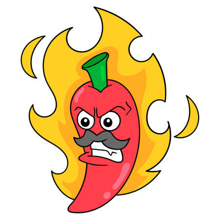 Super spicy red chili on fire, vector illustration art. doodle icon image kawaii. Stock Illustratie