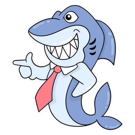 business shark wearing a red tie going to the office, vector illustration art. doodle icon image kawaii.